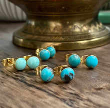 Load image into Gallery viewer, Teenie Turquoise Studs