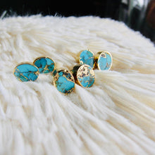 Load image into Gallery viewer, gold turquoise studs