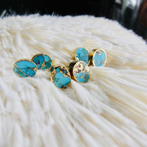 gold turquoise studs