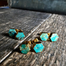Load image into Gallery viewer, Turquoise Hexagon Studs