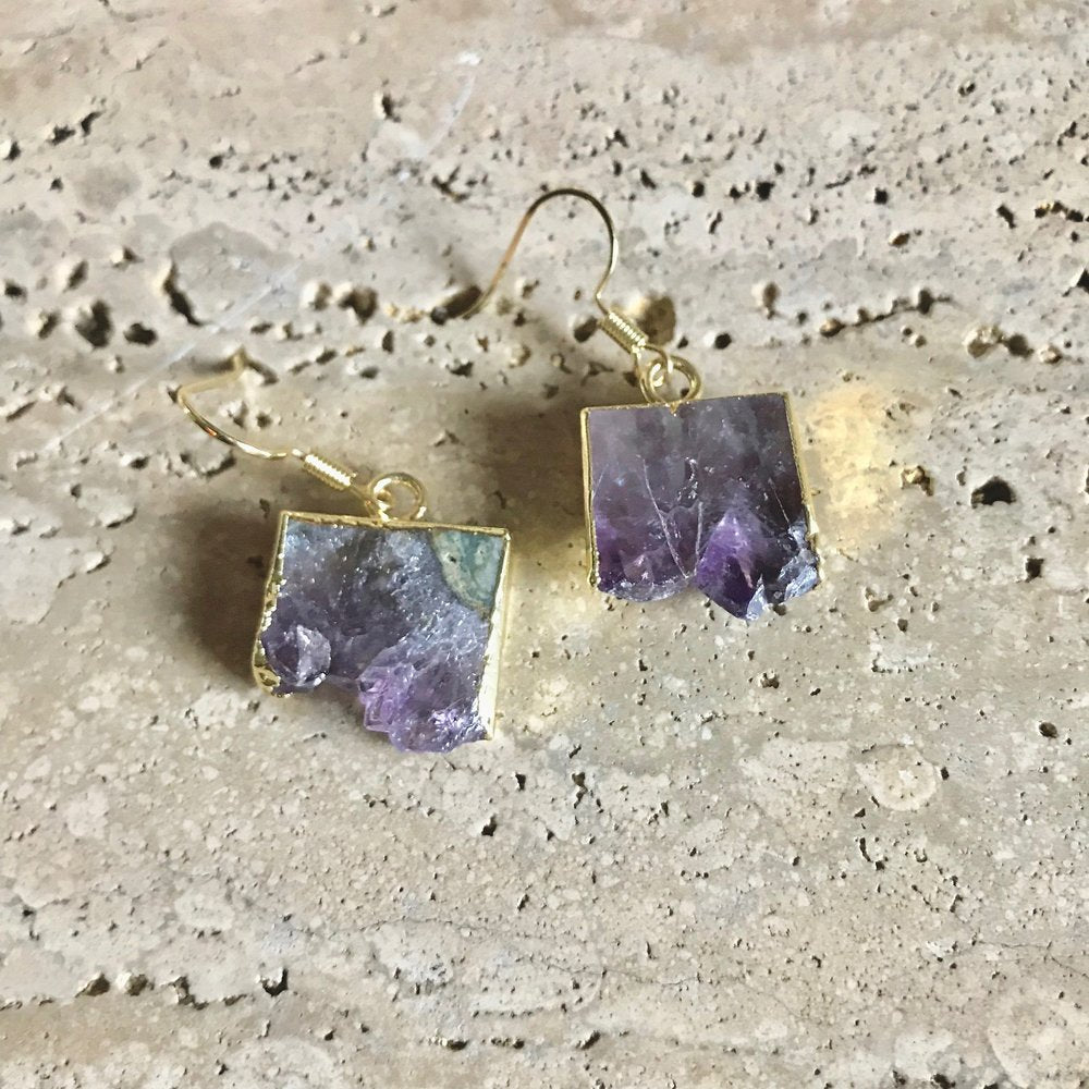 Amethyst Slice Earrings