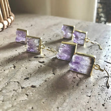 Load image into Gallery viewer, Amethyst Slice Earrings