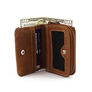 Coin Leather Wallet Light Brown - C&B Craft Corp