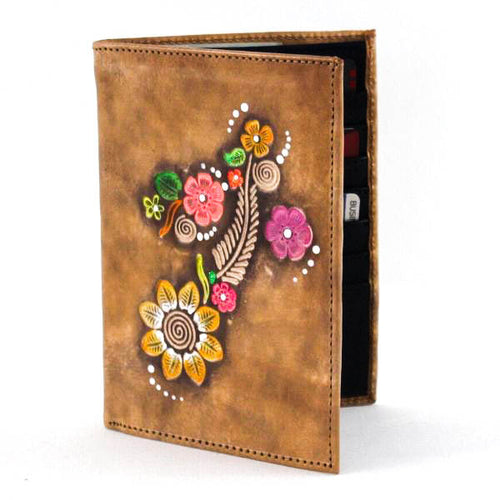 Passport Leather Wallet Flower Design 2 - C&B Craft Corp