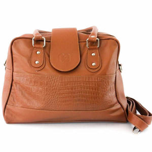 Bowler Embossed Handbag Light Brown - C&B Craft Corp