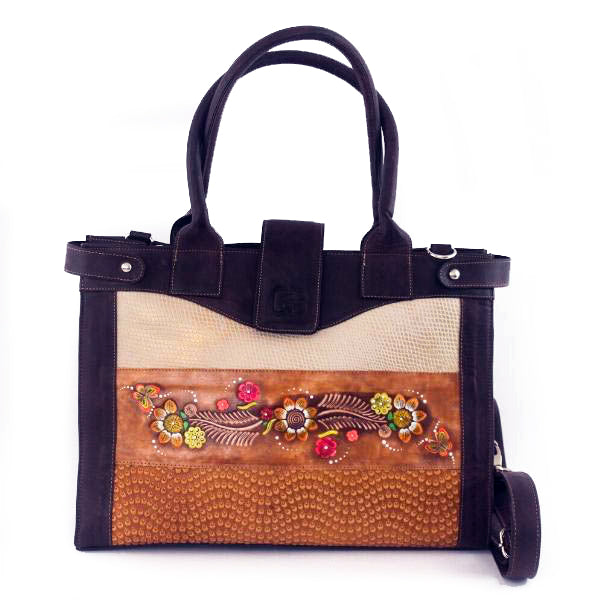 Large Leather Bag Purpure 2 - C&B Craft Corp