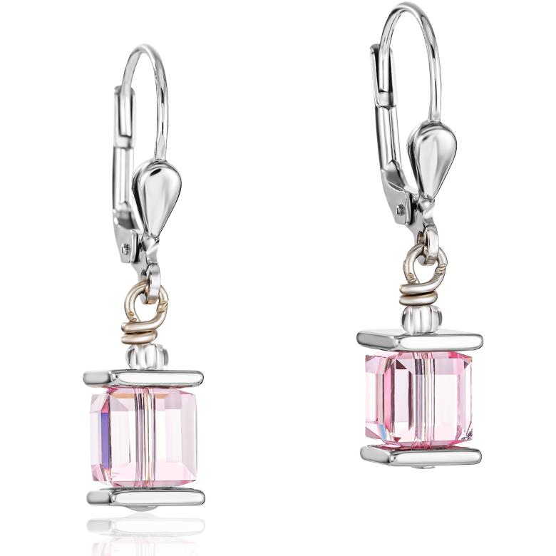 Earrings Swarovski® Crystals GeoCUBE® light rose