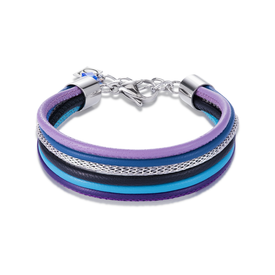 Bracelet Multirow Nappa Leather & Mesh blue-purple