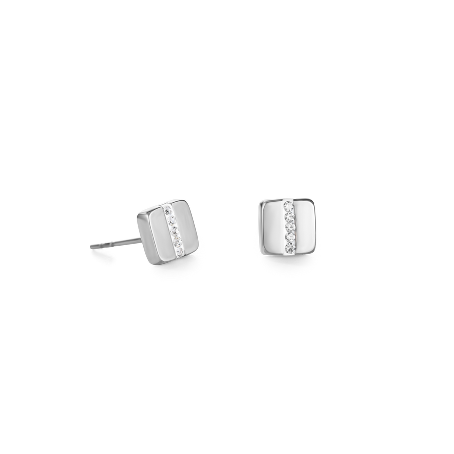 Earrings stainless steel square & crystals pavé strip crystal