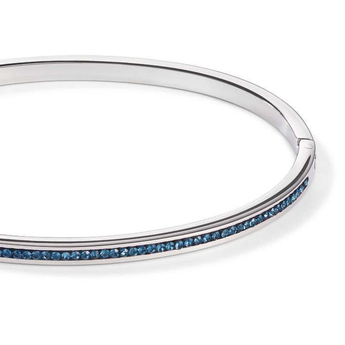 Bangle stainless steel silver & crystals pavé montana