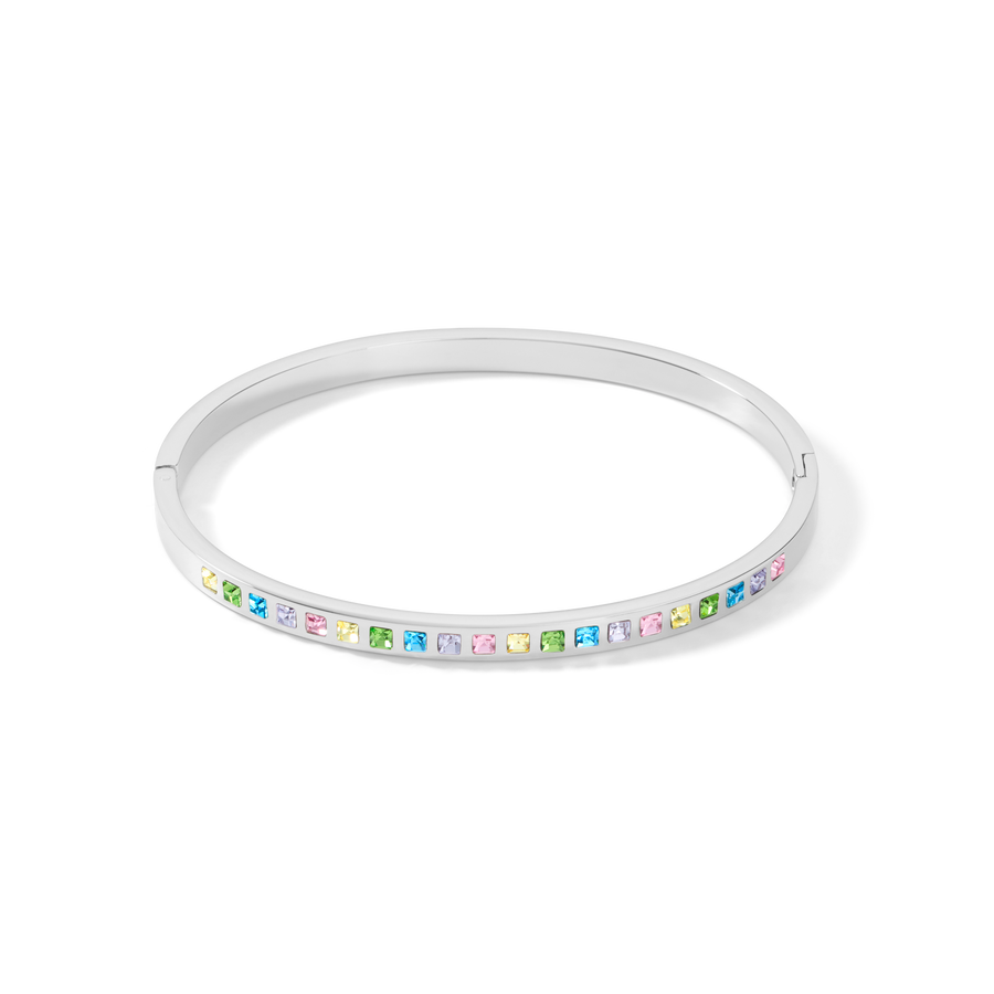 Bangle stainless steel silver & square crystals pavé multicolour pastel 17