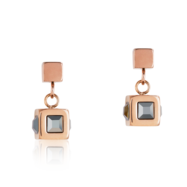 Earrings cube stainlees steel rose gold & crystal anthracite