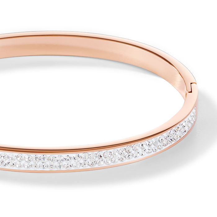 Bangle stainless steel rose gold & crystals pavé crystal