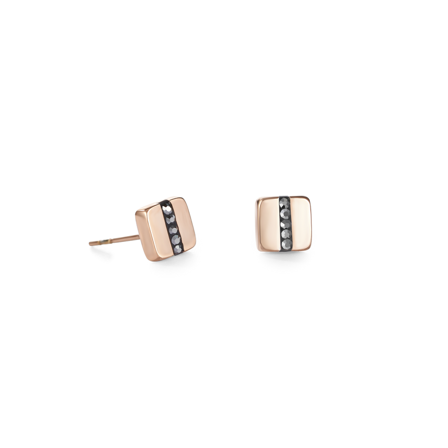 Earrings stainless steel square rose gold & crystals pavé strip anthracite