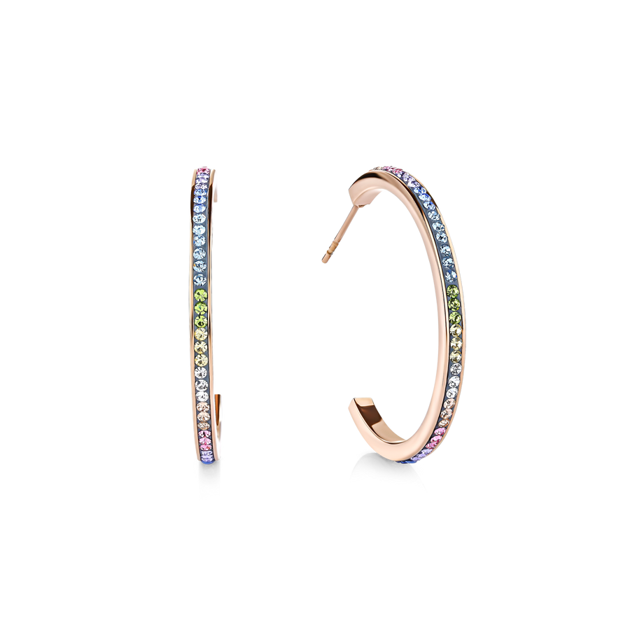Ohrringe Creole Edelstahl rosegold mit Kristall Pavé multicolor pastell