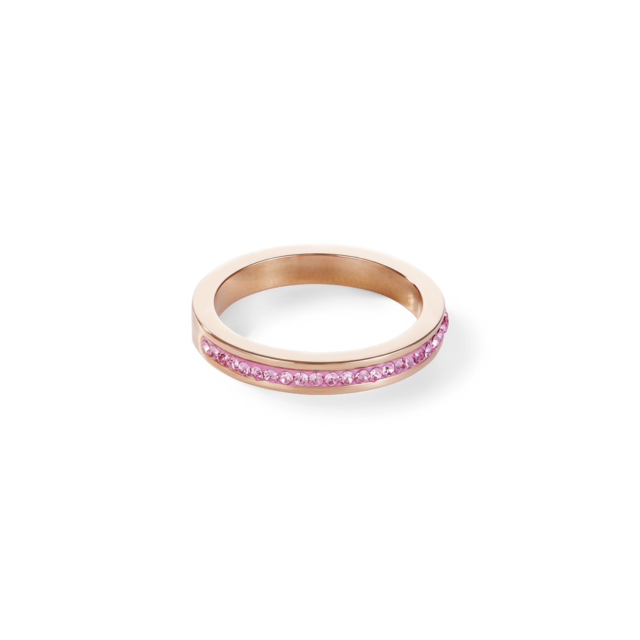 Ring narrow stainless steel rosegold & crystals pavé light pink