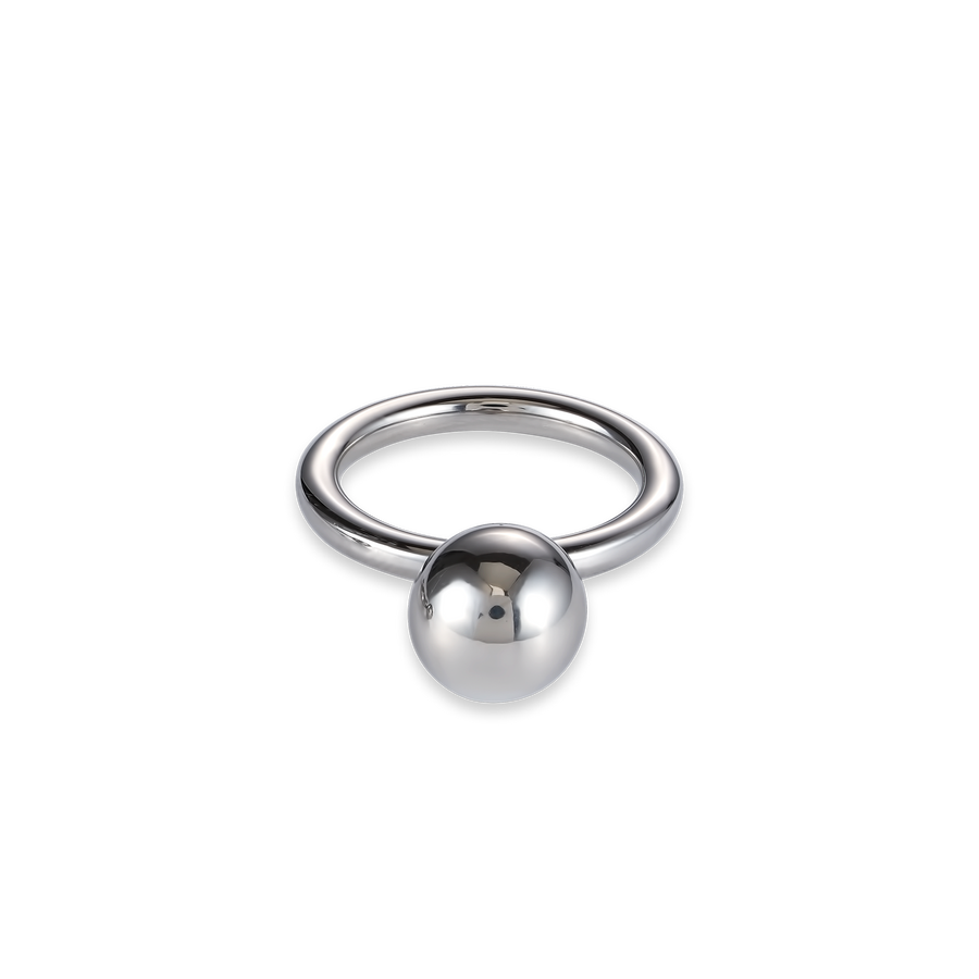 Ring stainless steel ball large silver