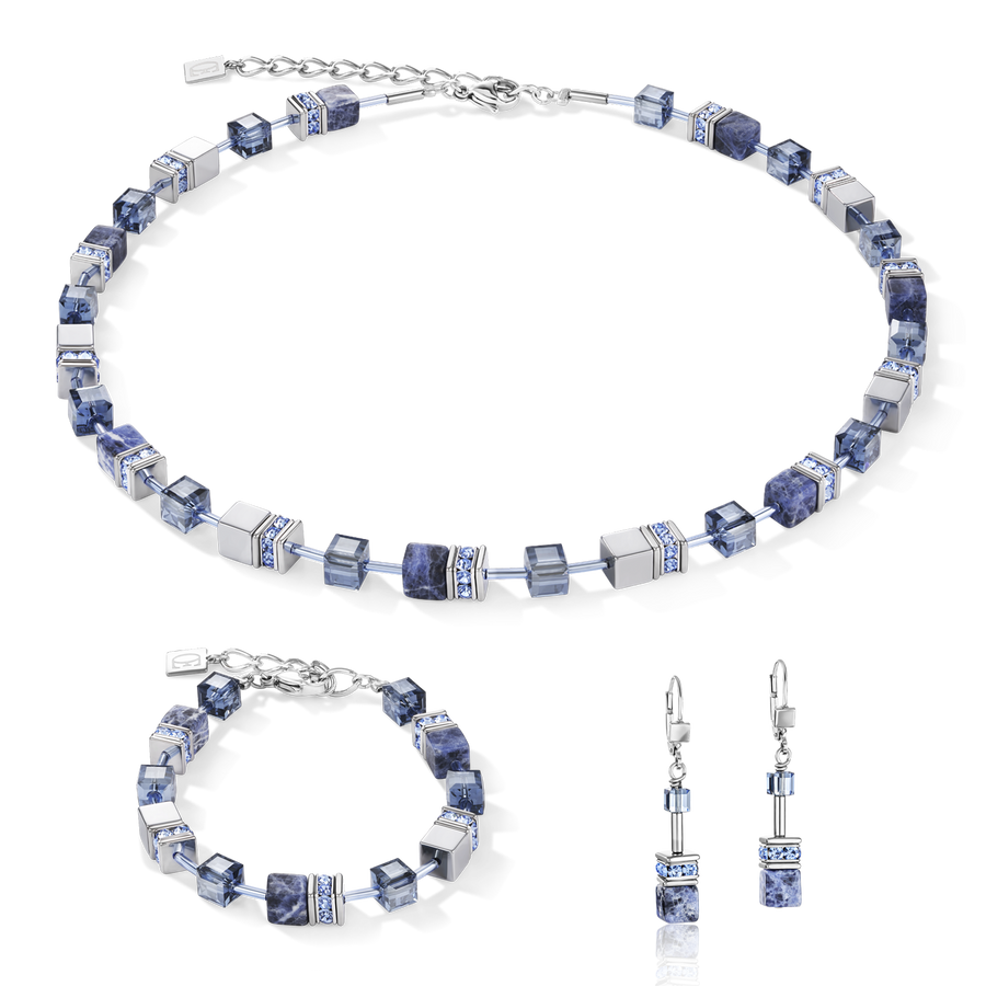 GeoCUBE® Necklace sodalite & haematite blue