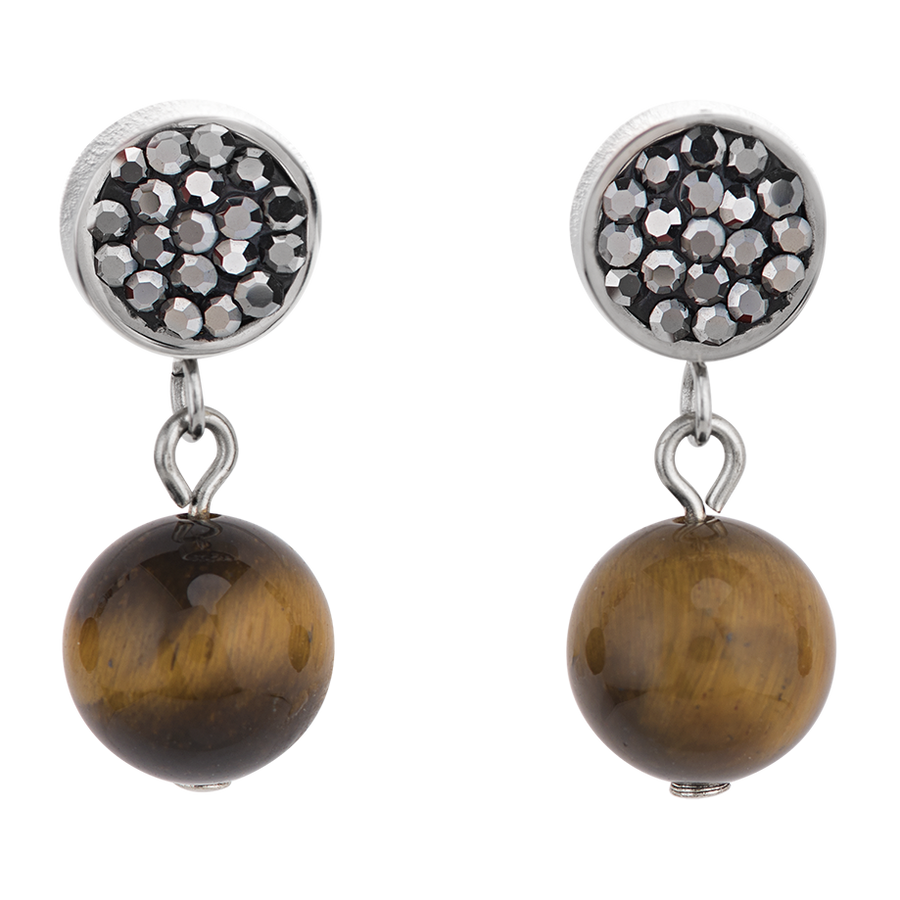 Earrings Crystals Pavé & agate & onyx multicolour nature