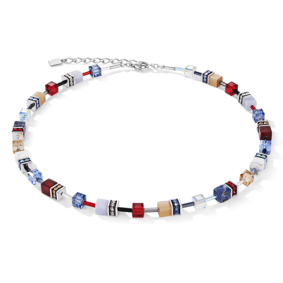 Necklace GeoCUBE® Swarovski® Crystals & Gemstones blue-red