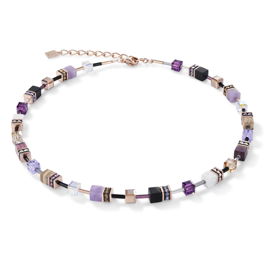 Necklace GeoCUBE® Swarovski® Crystals & Gemstones lilac-beige