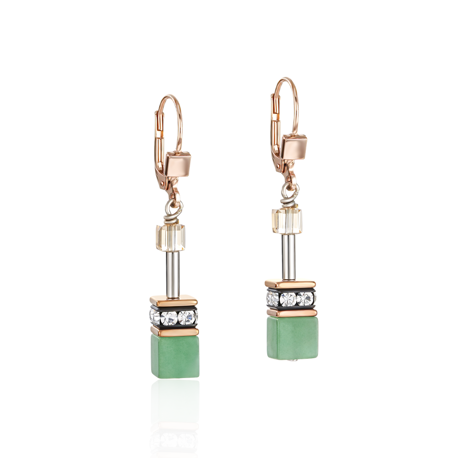 Earrings GeoCUBE® Swarovski® Crystals & Gemstones green-beige