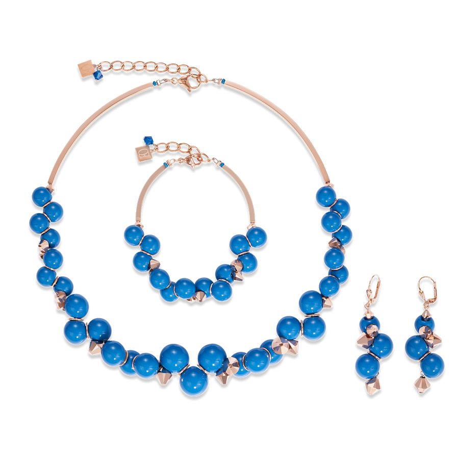GeoCUBE® Bracelet acrylic glass blue & Swarovski® Crystals rose gold