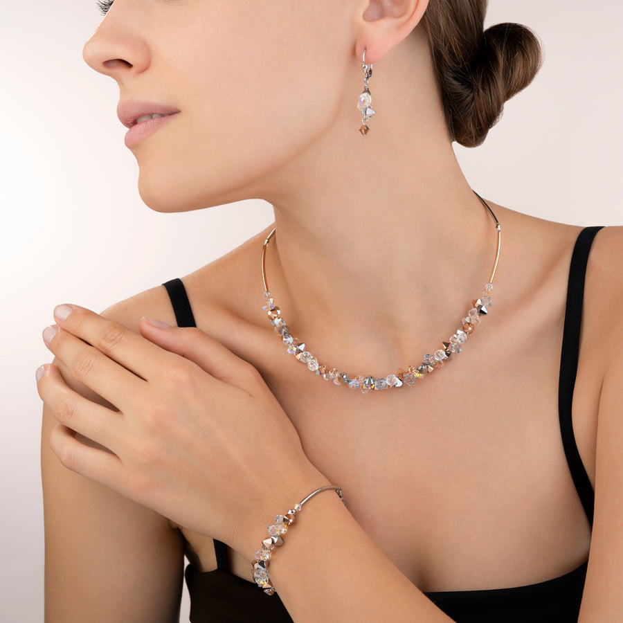 Necklace Swarovski® Crystals & stainless steel rose gold-silver