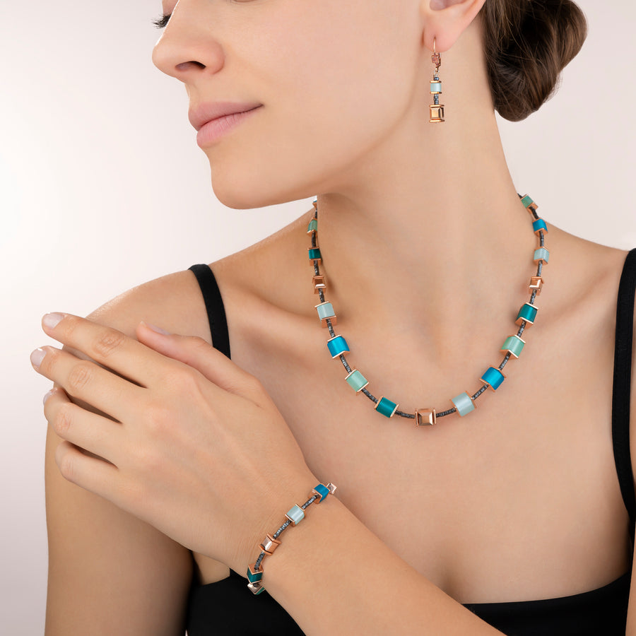 Necklace GeoCUBE® Swarovski® Crystals & Polaris petrol-mintgreen