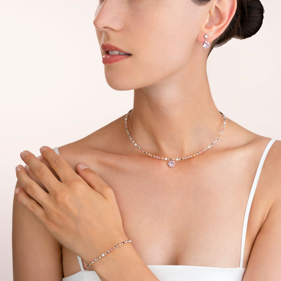 Necklace Swarovski® Crystals & stainless steel light rose