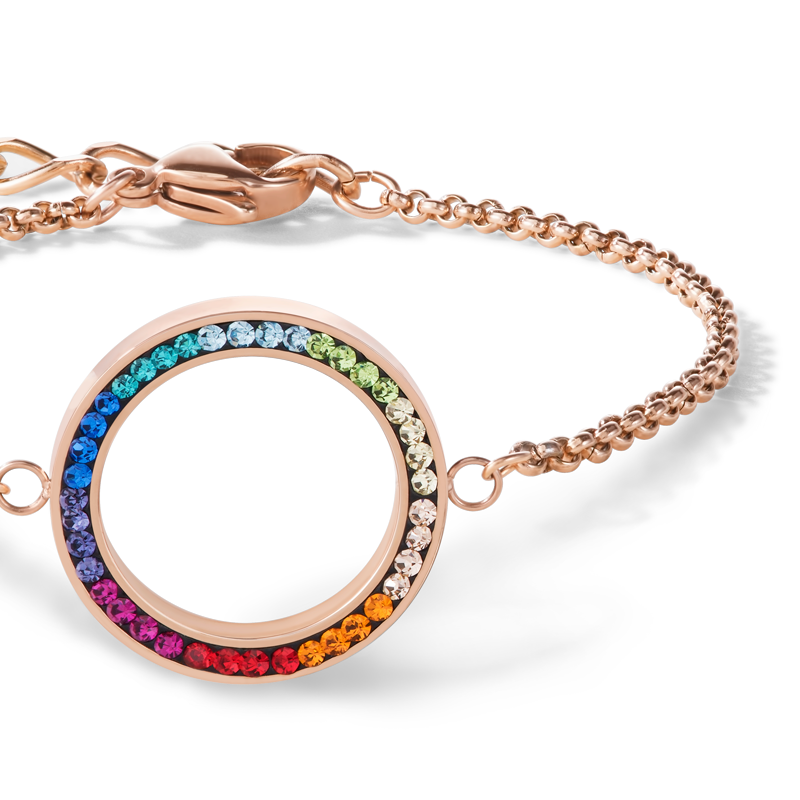 Armband Ring Kristall Pavé & Edelstahl roségold & multicolor