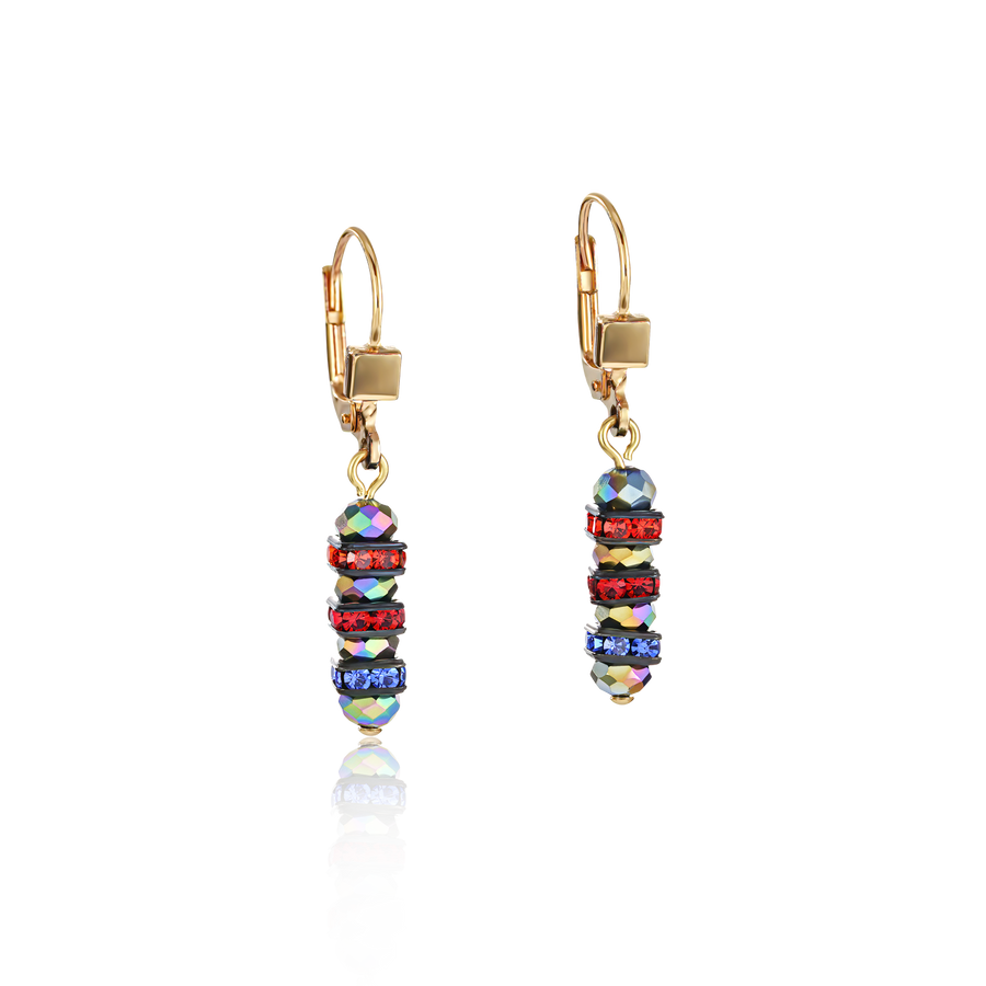 Ohrringe Frontline Strass & Glas multicolor-gold