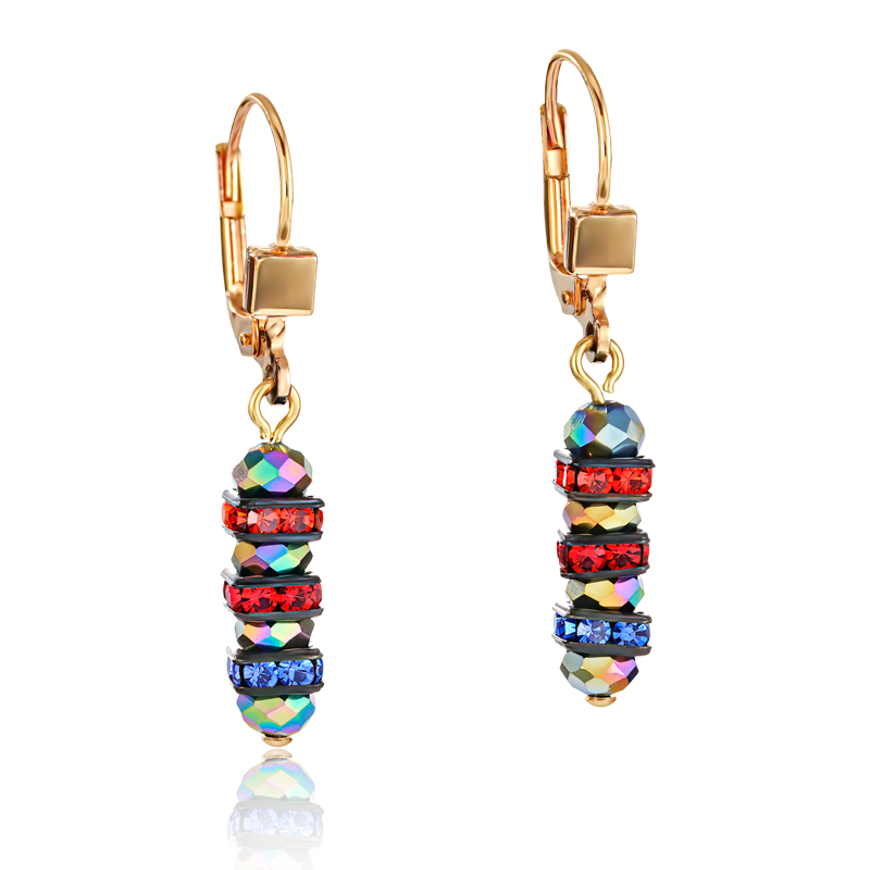 Earrings Frontline rhinestone & glass multicolour-gold