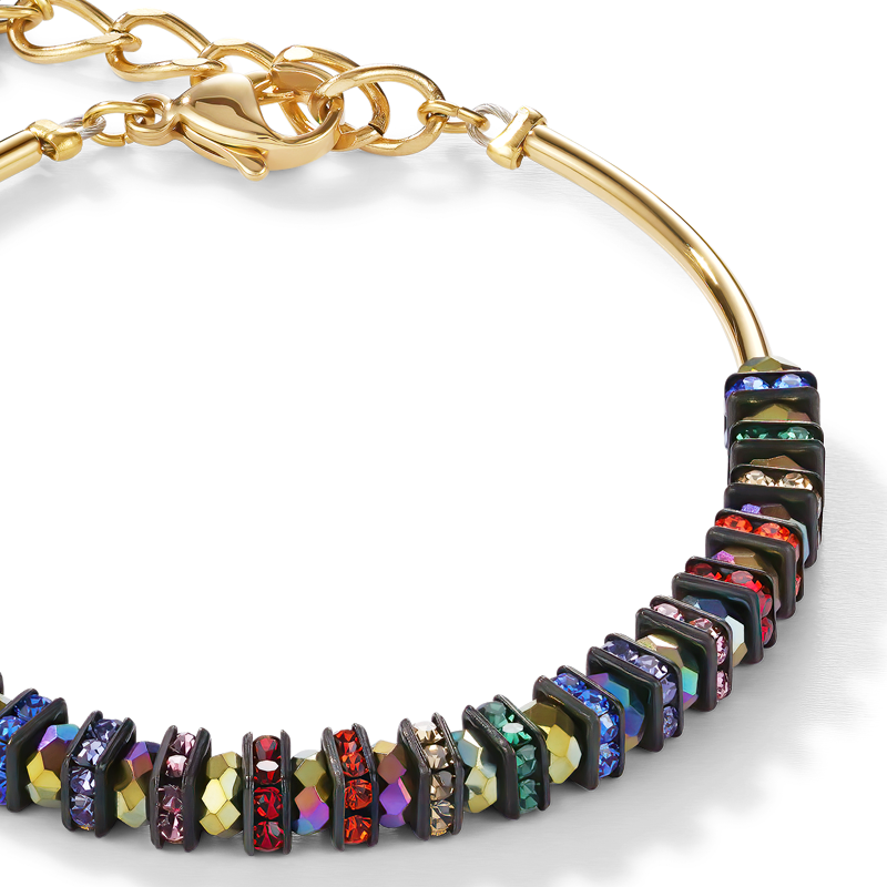 Bracelet Frontline rhinestone & glass multicolour-gold