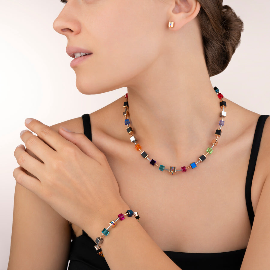 Necklace GeoCUBE® Stainless steel & crystals pavé, Swarovski® Crystals & onyx multicolour