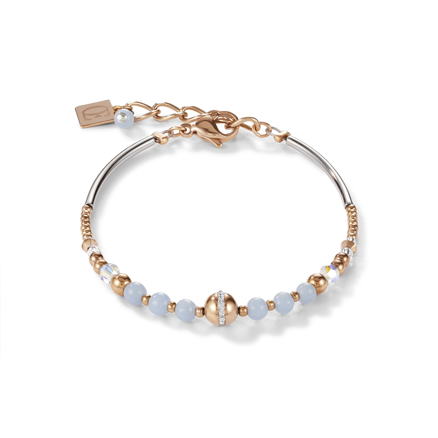 Bracelet Ball Angelite & stainless steel rose gold light blue
