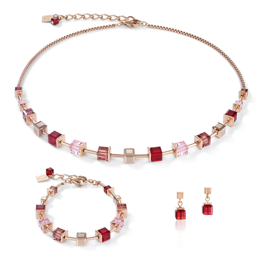 Necklace GeoCUBE® Swarovski® Crystals & stainless steel rose gold red