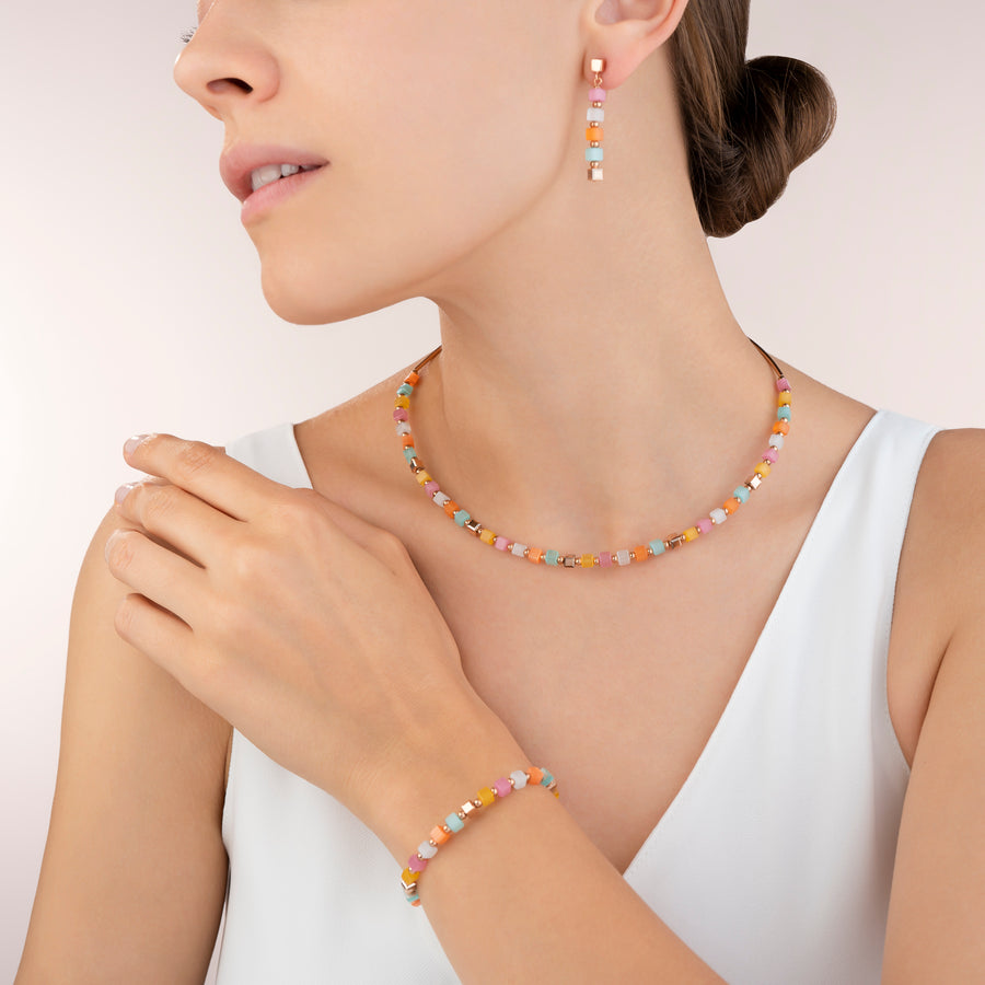 Ohrringe GeoCUBE® small synthetisches Tigerauge & Swarovski® Kristalle multicolor pastell 1