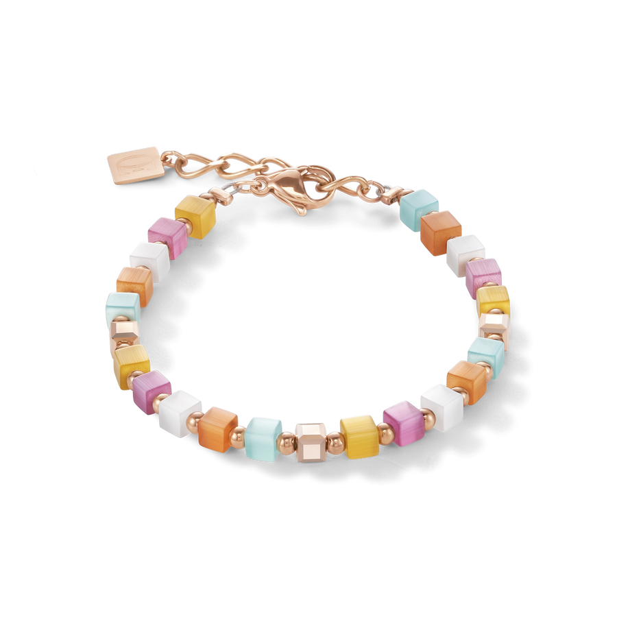 Armband GeoCUBE® small synthetisches Tigerauge & Swarovski® Kristalle multicolor pastell 1