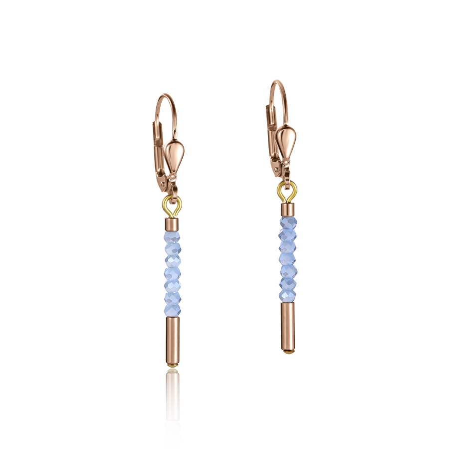 Earrings Waterfall small stainless steel rose gold & glass light blue