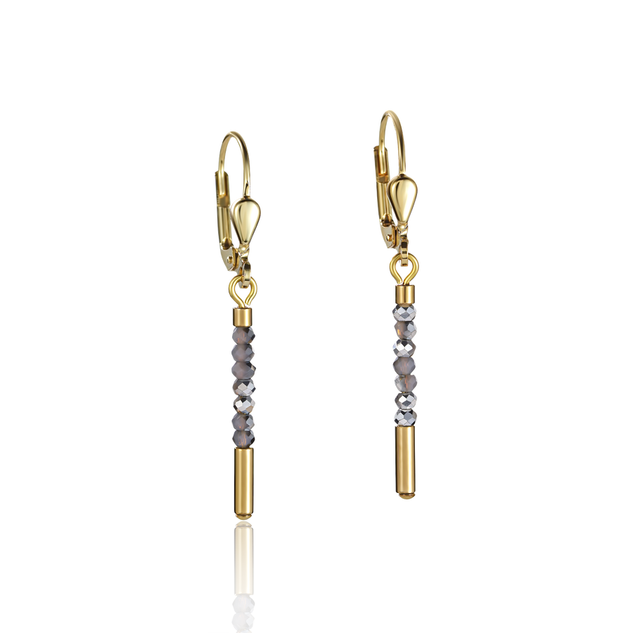 Earrings Waterfall small stainless steel gold & glass silver