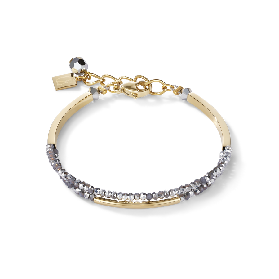 Bracelet Waterfall small stainless steel gold & glass silver
