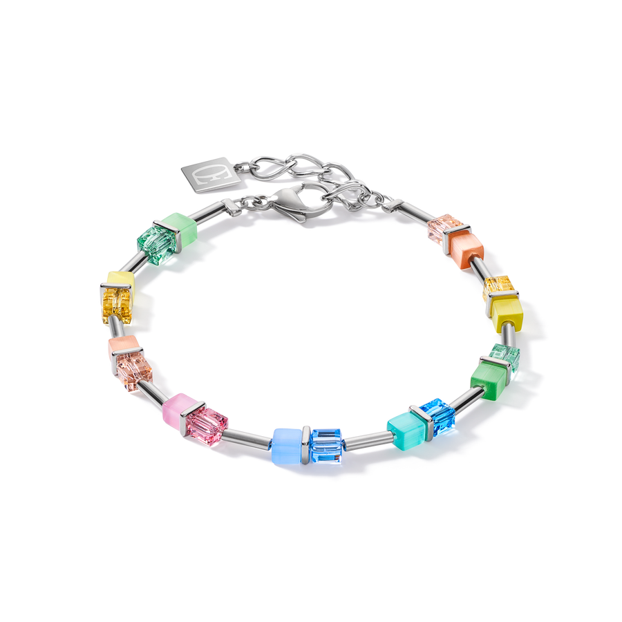 Armband GeoCUBE® colour couple multicolor pastell-silber