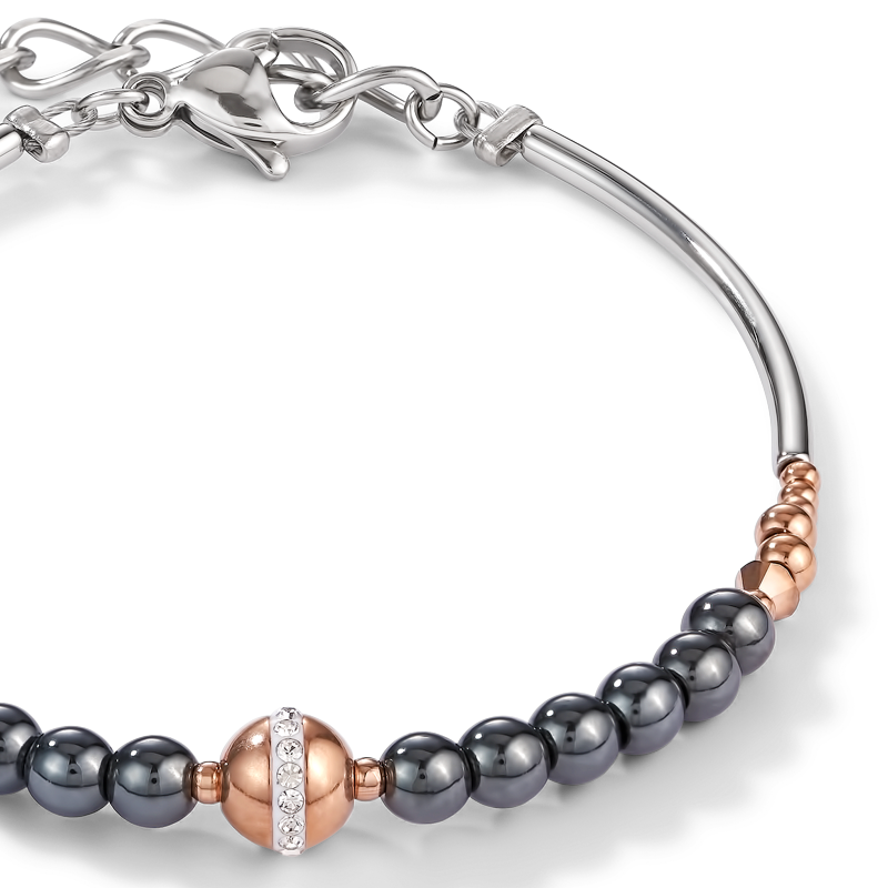Bracelet Ball stainless steel rose gold & haematite anthracite