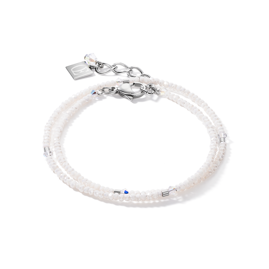 Bracelet small crystal silver & white