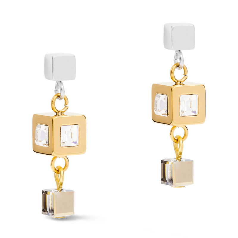 Earrings GeoCUBE® cluster gold-silver