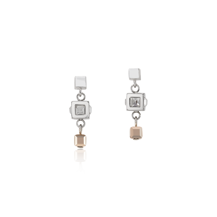 Earrings GeoCUBE® cluster silver-rose gold