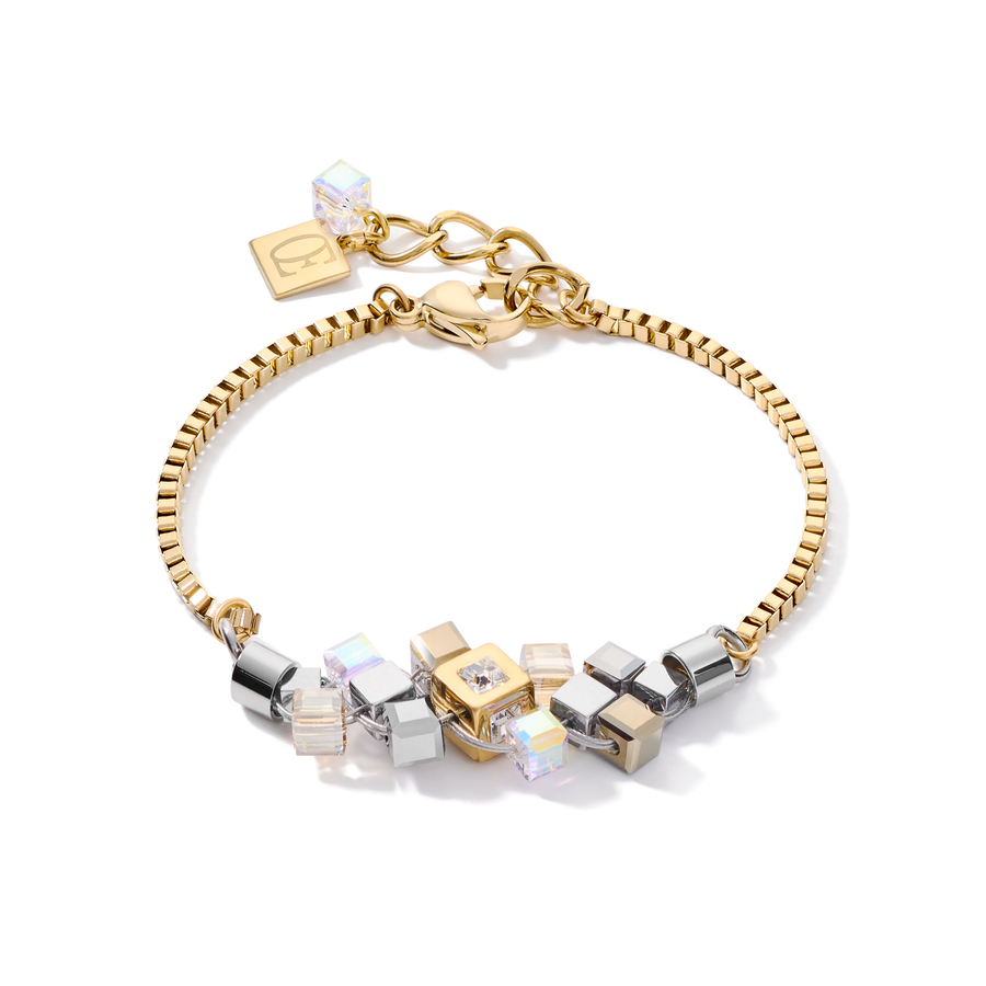 Armband GeoCUBE® Cluster gold-silber