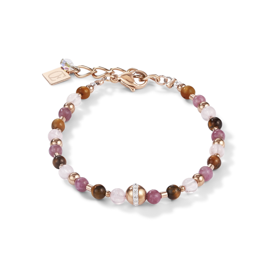 Bracelet Ball stainless steel rose gold & gemstones lilac-brown
