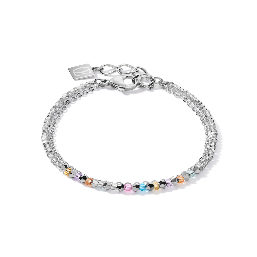 Armband fine waterfall silber-multicolor pastell